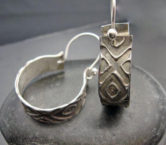 Diamond Girl  Sterling Silver Hoop Earrings by designsbysuzyn, $70.00