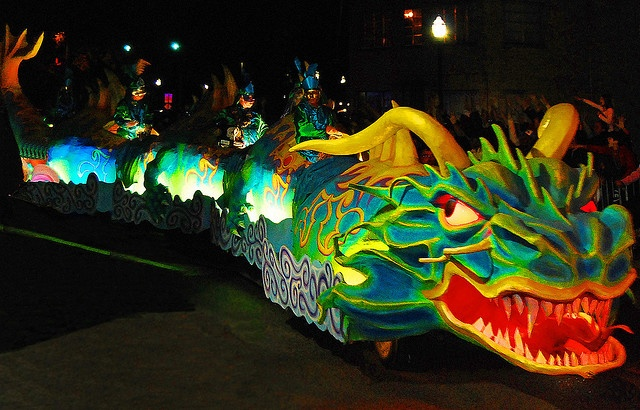 Mobile's Mystics of Time parade includes Vernadean, a 150-foot-long dragon float that breathes fire down the streets of downtown Mobile