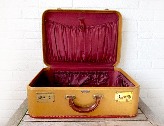 Vintage Ruby Grapefruit Suitcase - American Tourister 1950s 50s Hard Side Luggage - Display Antique Photo Prop