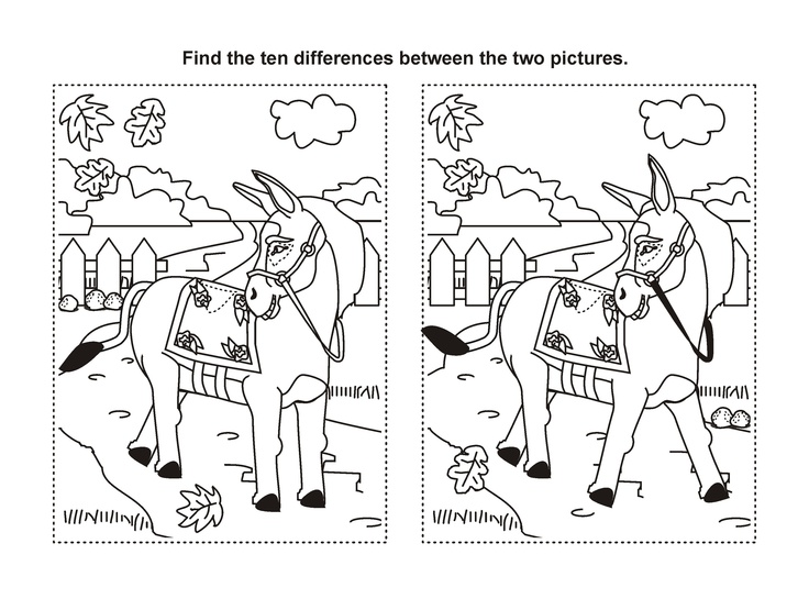 Find The Difference Printable Horse Game | birthday party ideas | Pin ...