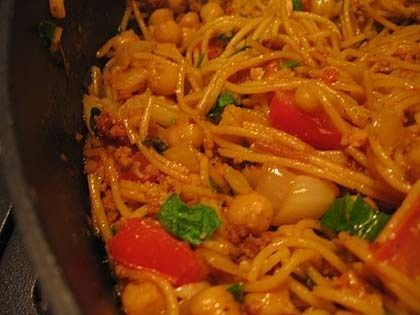 Spanish Style Spaghetti with Chorizo and Almonds