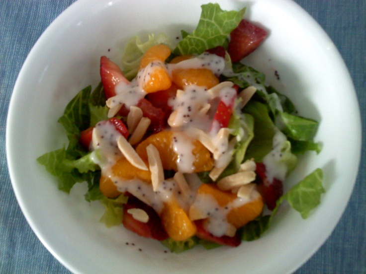 ... mandarin oranges, strawberries, and almonds with poppy seed dressing