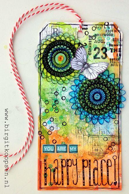 Happy place - birgit koopsen - tag with spirograph flowers