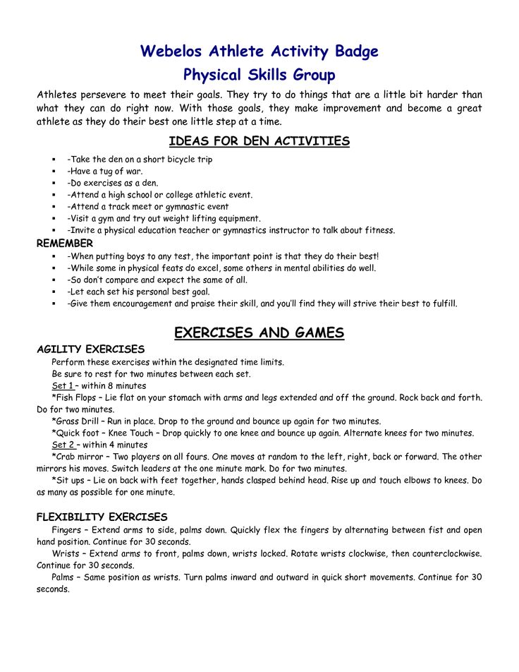 webelos fitness badge worksheet | Athlete Webelos Athlete