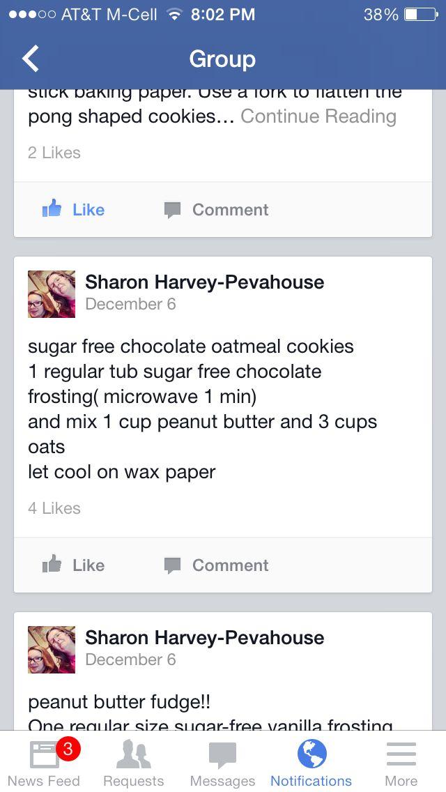 Sugar Free Chocolate Oatmeal Cookies | Recipes - Diabetic | Pinterest