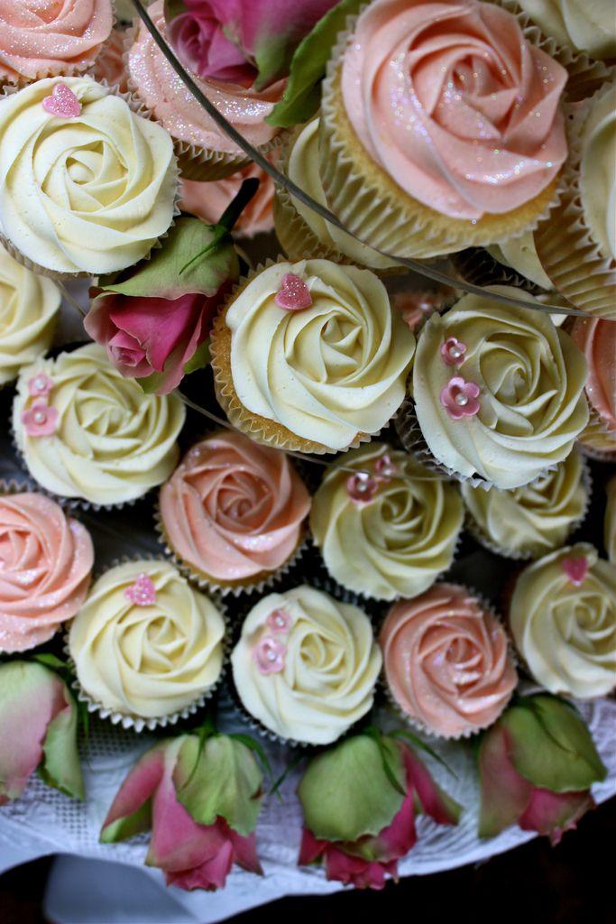 Pink & Ivory Rose Wedding Cupcakes   Cupcake Inspiration ...