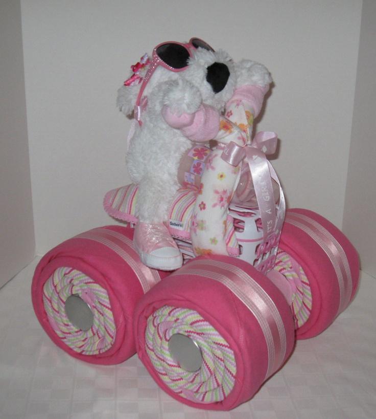 diaper cake 4 wheeler quad motorcycle baby shower girl baby gift