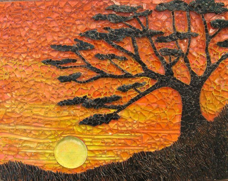 Tree sunset mosaic art art mosaic pinterest for Mosaic art pictures