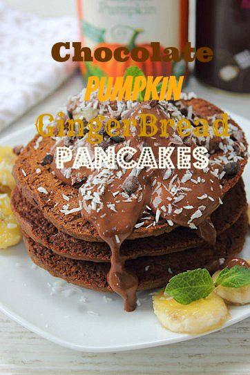 Vegan Chocolate Pumpkin Gingerbread Pancakes- Peachy Palate