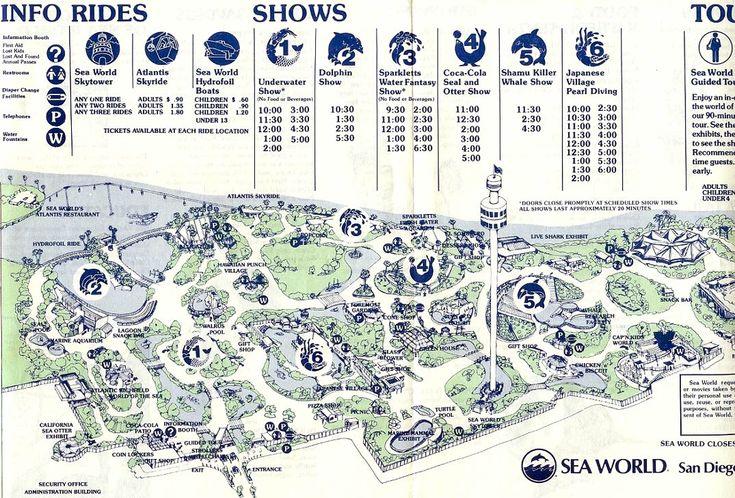 Sea World San Diego map 1980