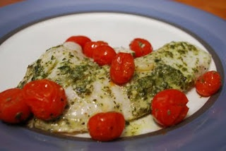 Tilapia with Lemon Pesto and Oven-Roasted Tomatoes