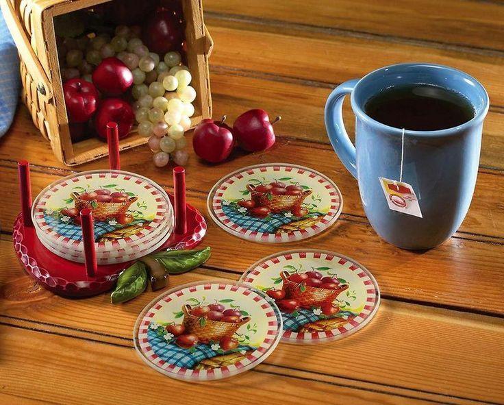 Seven Pieces Apple Decor Coaster Set Red Kitchen Apple Decor