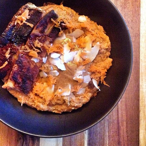 ! Carrot cake raisin cinnamon oatmeal with maple syrup and cinnamon ...