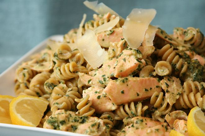 Pasta with Salmon in Pesto Cream Sauce @ The Way the Cookie Crumbles