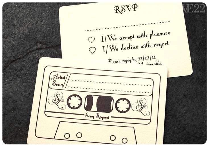 RSVP card/guest's song request: so cute! Love the cassette.