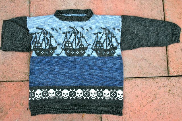 Daniel's pirate-mashup sweater by Pointy Pointy Sticks http://knithacker.com/2013/10/23/daniels-pirate-mashup-sweater-by-pointy-pointy-sticks/ - incredible craftmanship here, just gorgeous. #knit #pirate
