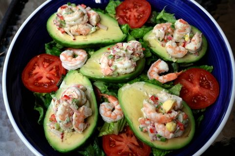 Yum: Shrimp-stuffed avocados. You can also leave the avocados in the ...