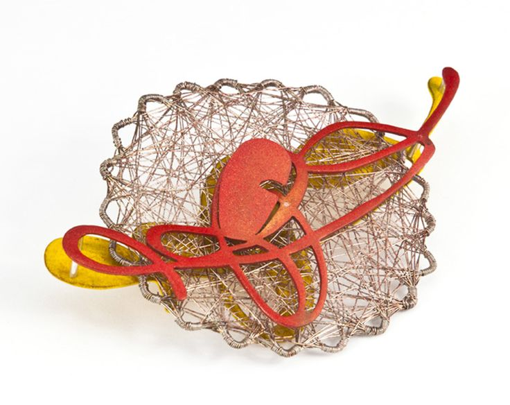 "Spun Vermillion Brooch -  Laritza Garcia  2012  - Copper, Fine Silver, Steel, Powder Coat 5"" x 3"" x 1"""