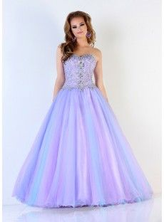 Purple Tulle A Line Prom Dress