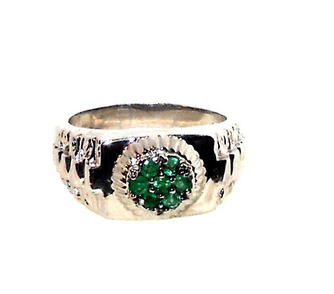 mens genuine emerald ring 75 carats size 11
