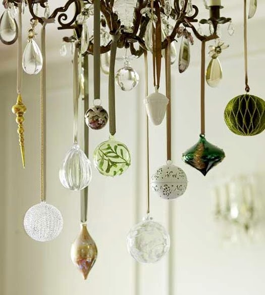 pretty ornaments hanging from chandelier christmas