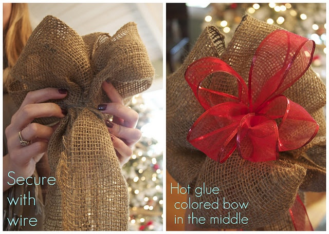 How to make a burlap bow for a Christmas tree topper for @Kristin Jaworski