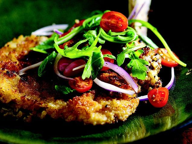 Veal Chop Milanese with Arugula Salad... I did this with a lean ...