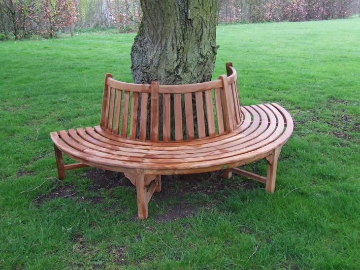 Half tree bench garden pinterest Circular tree bench
