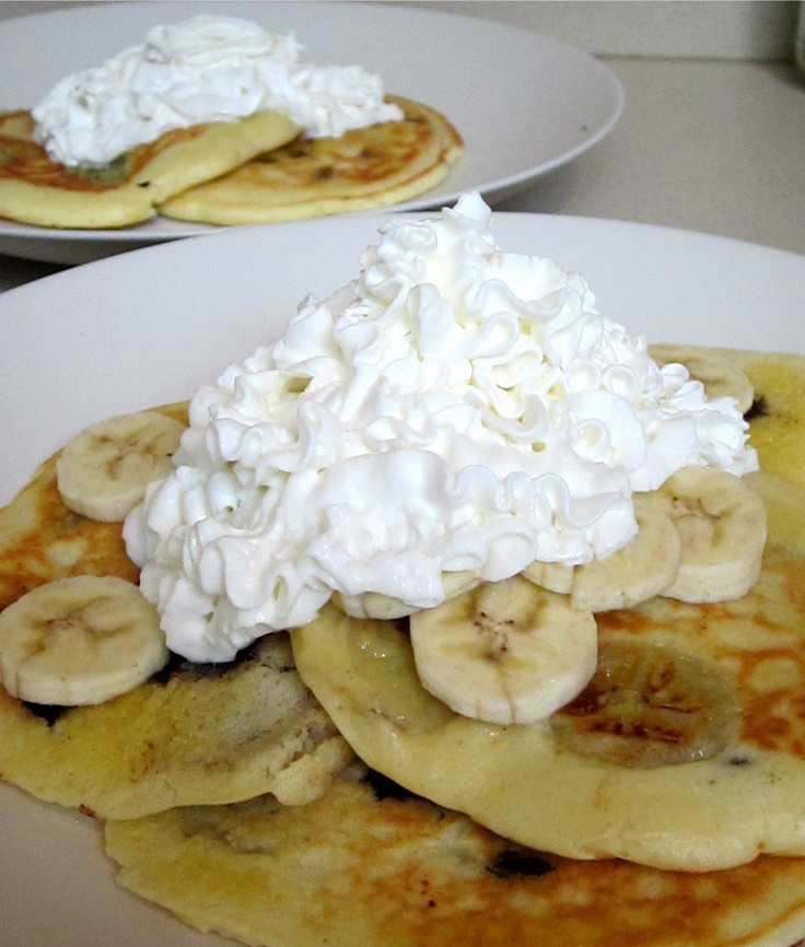 Chocolate Chip, Banana Pancakes with Whipped Cream via Eat Your Heart ...