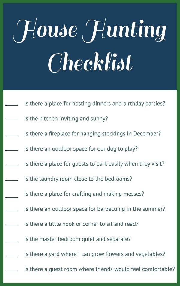 House hunting checklist homeowner bound pinterest What to buy for a new home checklist