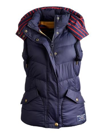 Joules Womens Hooded Gilet, Marine Navy.