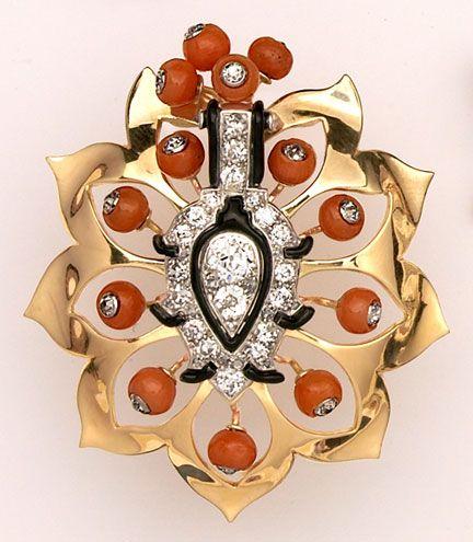 Art Deco Diamond, Coral, эмаль, золото и платина Брошь - Cartier