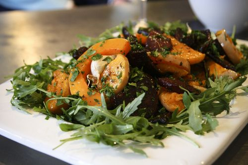 Warm Roast Vegetable Salad with Pomegranate Dressing