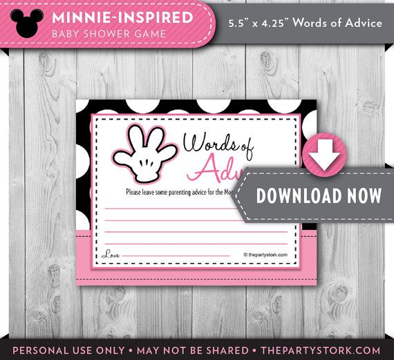 minnie baby shower games advice cards printable minnie mouse theme