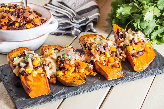 Loaded Enchilada Sweet Potatoes. Swap the beans for chicken and C will ...