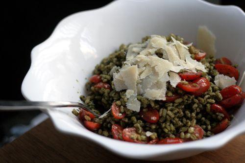 Barley Salad with Basil Pesto | Good Eats | Pinterest