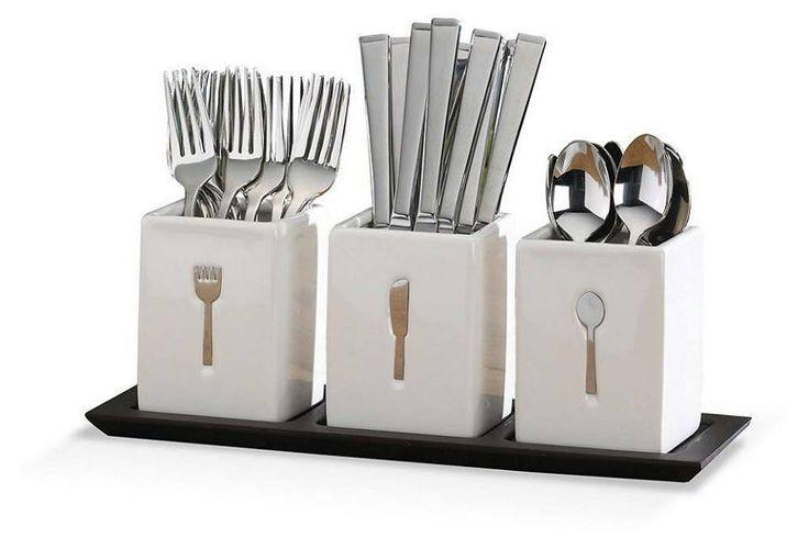Silverware buffet of buffet collection pinterest for Vertical silverware organizer