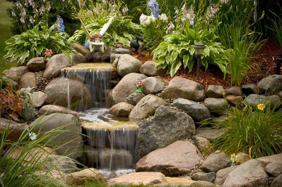 Waterfall garden ideas for janets fairy garden pinterest for Fairy garden waterfall