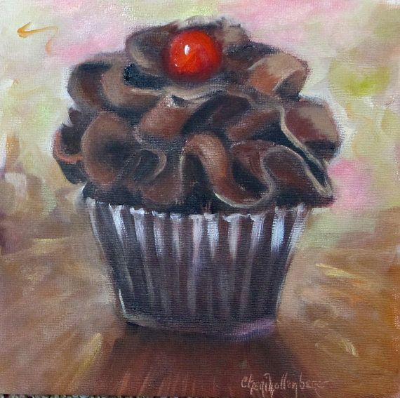 Food Still Life Painting of Chocolate Cupcake Small 6x6 Original Oil ...