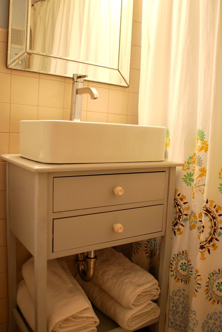 Vessel Sink With Cabinet : Vessel sink cabinet. Create similar using old sewing machine cabinet?