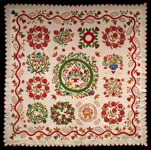 Album Quilt, Created by Elizabeth A Hart and C. A. Covirt. Ohio or Pennsylvania, 1880–1890