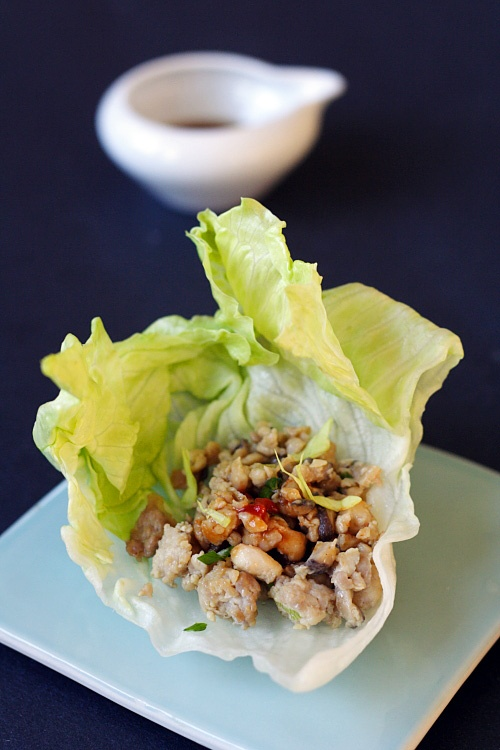 Lettuce Wraps (Lettuce-wrapped Chicken). Recipe at http://rasamalaysia ...