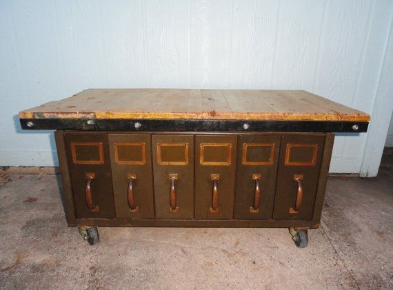 Industrial Coffee Table Reclaimed File Drawers Wood Top