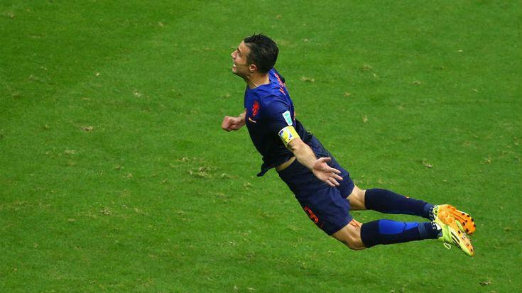 Van Persie diving goal for Netherlands #worldcup
