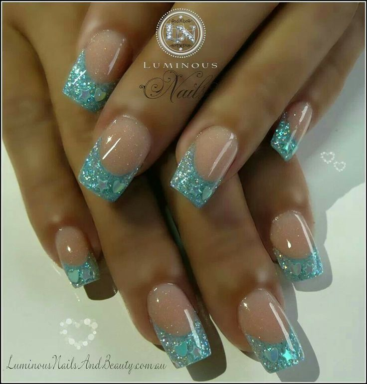 blue acrylic glitter french nails hair make up and nails pinterest. Black Bedroom Furniture Sets. Home Design Ideas