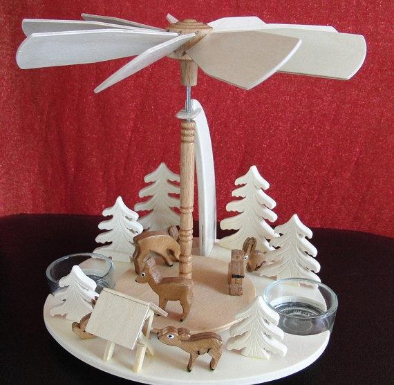 UNIQUE HANDMADE GERMAN Christmas Pyramid Wood Deer with Manger Fir Tr ...