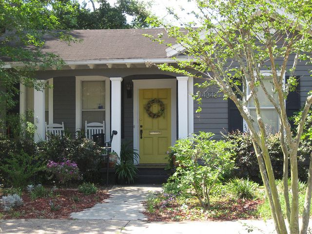 Yellow front door w gray siding entries pinterest for Front door yellow house