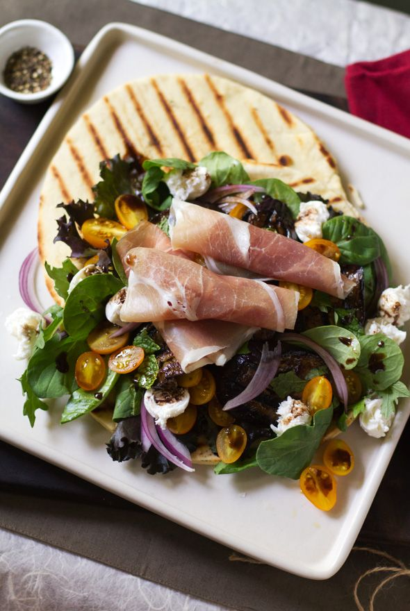 Grilled Piadina with Balsamic Eggplant and Spicy Greens from www ...