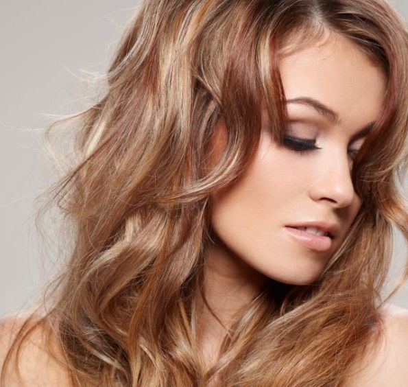 fall hair color, weaved in cherry cola lo-lites with neutral blonde hi ...