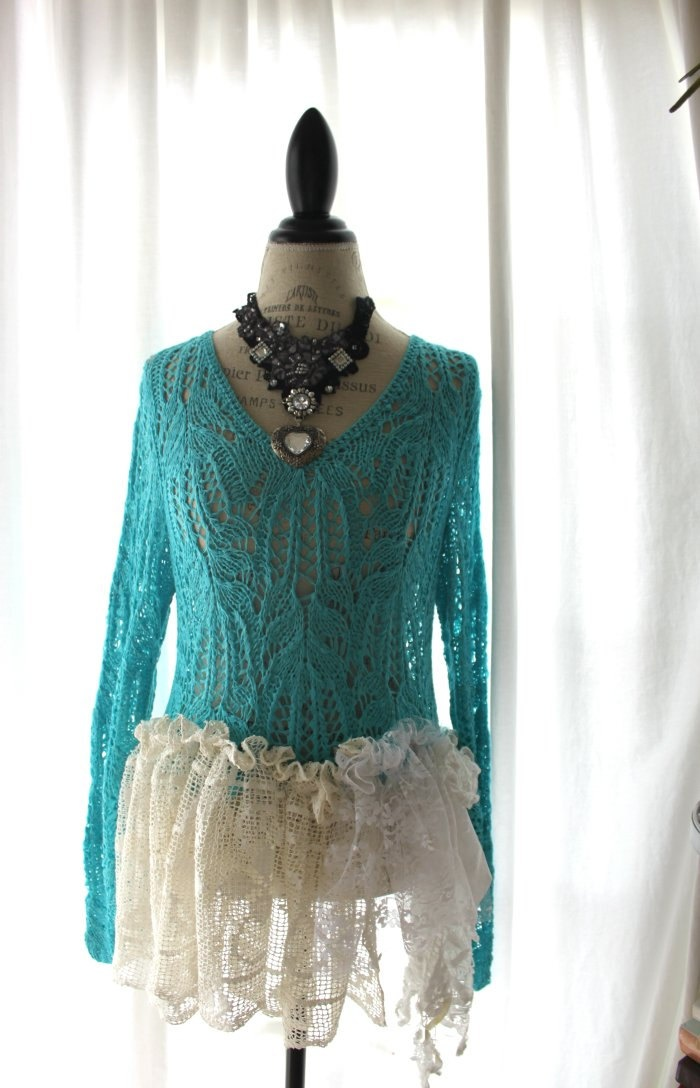 Crocheted sweater, shabby ruffle, gypsy cowgirl clothing, romantic